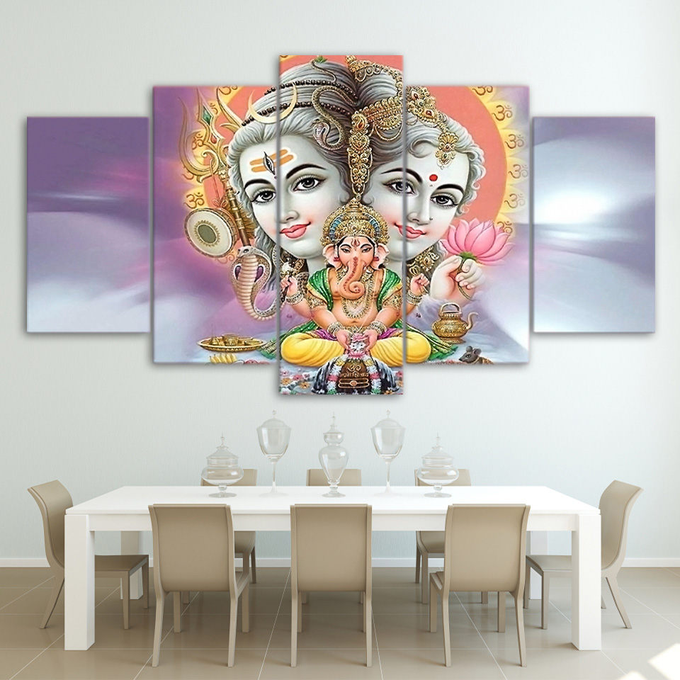 Modular Painting Canvas Wall Art Pictures Home Decor 5 Pieces Indian Mythology Hindu God Elephant Modern HD Printed Poster Frame