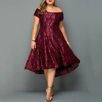 Off Shoulder Party Dress Women Plus Size Backless Sexy Floral Print Vintage Elegant Ladies Summer Prom Midi Dress Oversize 4XL