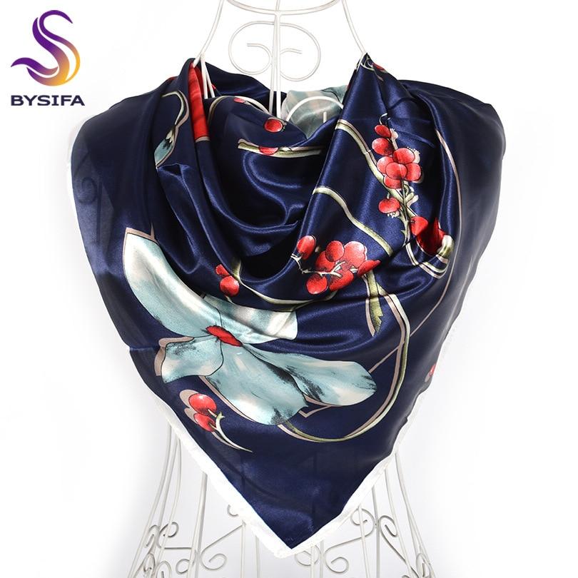 Дизайн женский Шелковый большой квадратный шелковый шарф из полиэстера, 90*90 см горячая Распродажа атласный шарф с принтом для весны, лета, осени, зимы - Цвет: navy blue red 607