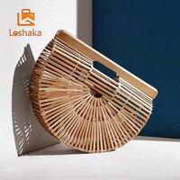 Loshaka Summer Half Round Handmade Bamboo Beach Bag Environmental Circular Basket Bamboo Bags Rural Countryside Vacation