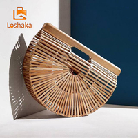Loshaka Summer Half Round Handmade Bamboo Beach Bag Environmental Circular Basket Bamboo Bags Rural Countryside Vacation