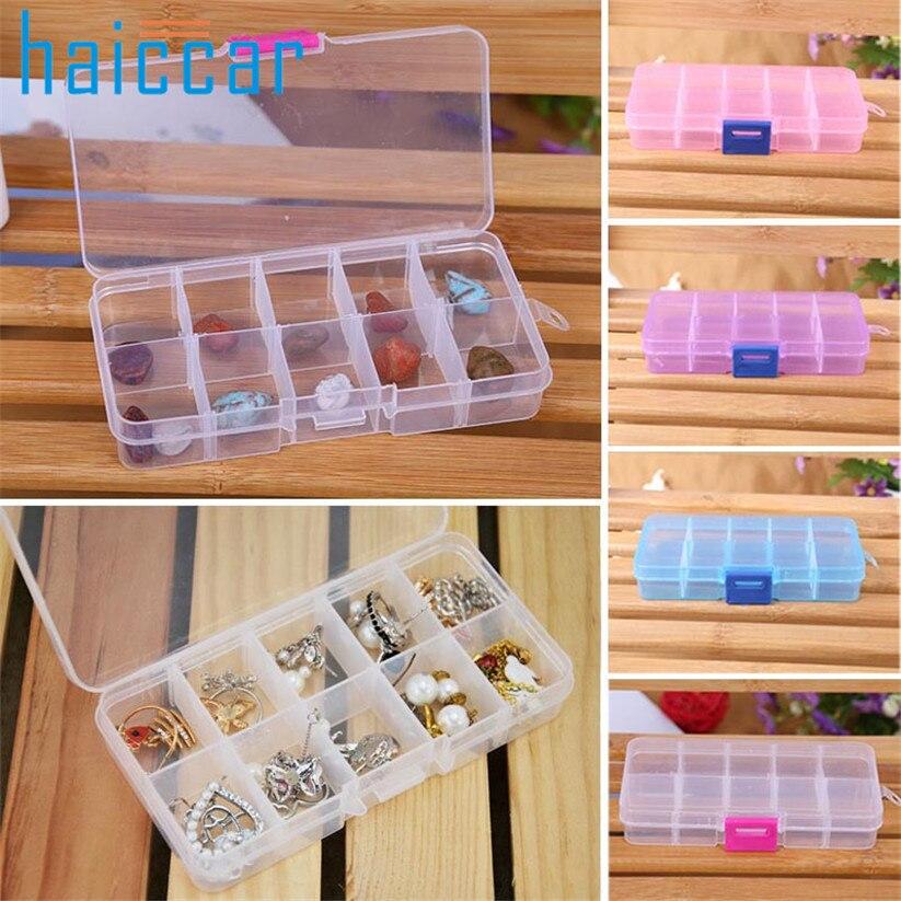 Storage Box 10 Grids Adjustable Jewelry Beads Pills Nail Art Tips Box Case Oct18MAY17