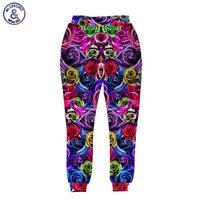 2017 mr.1991inc nowy styl mężczyźni/kobiety harem spodnie druku 3d kolorowe róże kwiaty długie spodnie biegaczy hip hop spodnie
