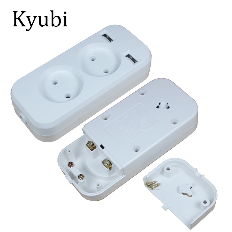 New USB extension Socket for phone charge Free shipping Double USB Port 5V 2A Usb electrique prise usb murale steckdose KF-01-4