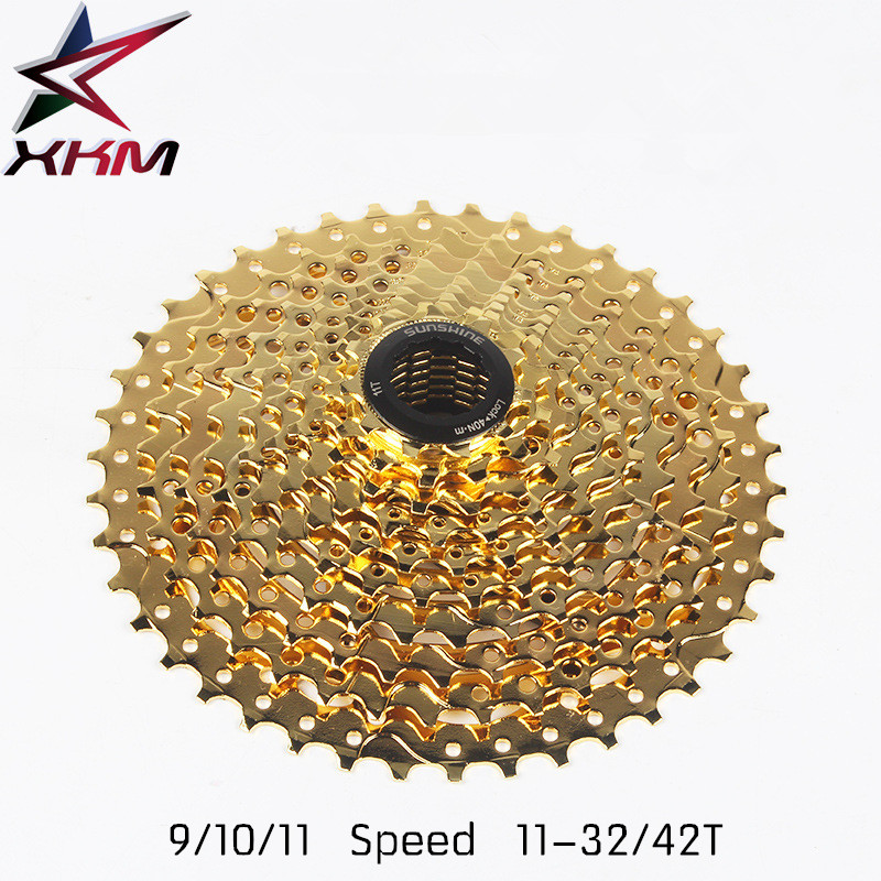 SUNSHINE 9 Speed 10 Speed 11 Speed 11-32/42T Golden Bicycle Freewheel Mountain Bicycle Cassette Tool MTB Flywheel Bike Parts 10 speed cassette 11 42t gold mtb cassette 10 speed fit for mountain bike road bicycle mtb bmx sram shimano