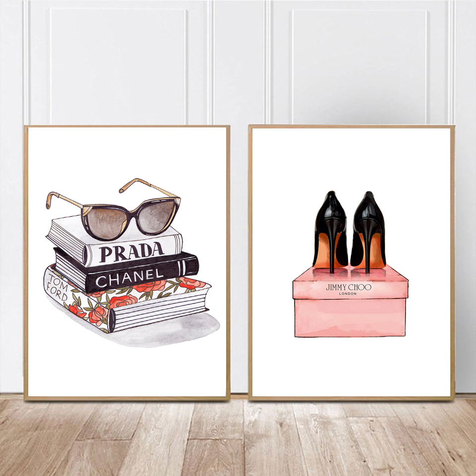 Modern Fashion Shoes Canvas Painting Vogue Book Posters and Prints Nordic Wall Art Pictures for Living Room Pop Print Home Decor