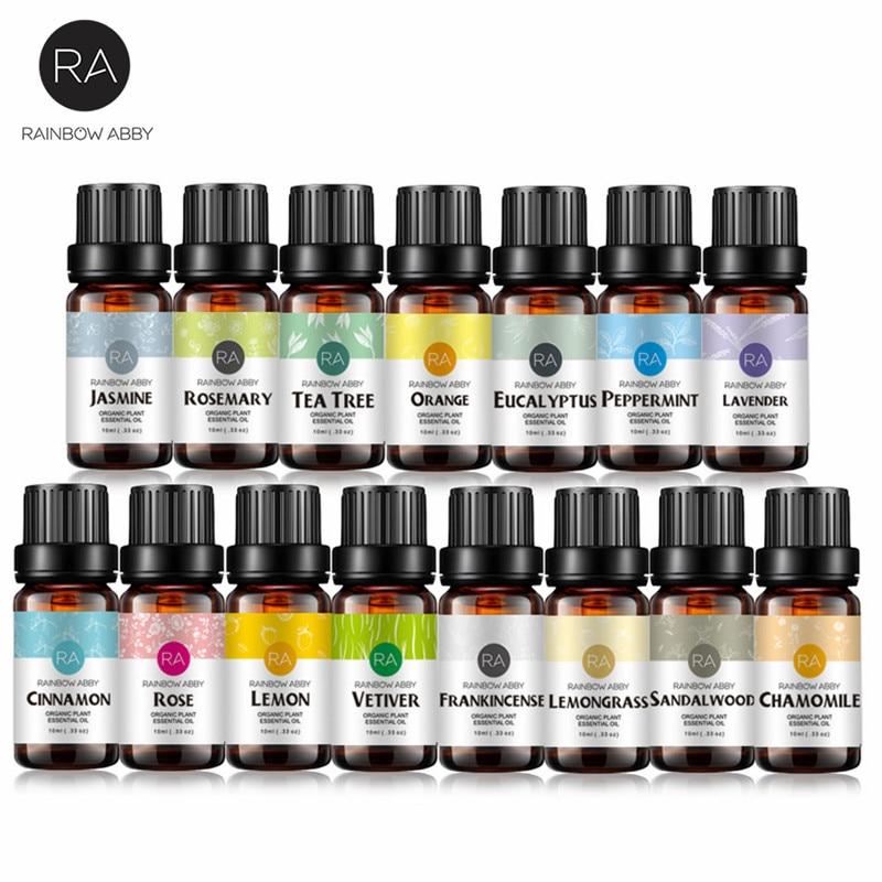 10ml Essential Oils Kits Peppermint Oil Jasmine Orange Natural Aroma Oil Body Massage Oil 6/8/12/14/16 Multiple Sets Optional
