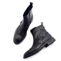 New classic Mengke boots side zipper buckle leather gentleman men's boots pedicure pure black wild men's shoes