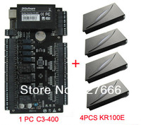 ZKteco Access Control Panel System TCP/IP 4 Doors Access Control Board & 4PCS KR100E RFID Card Reader With FRee Software