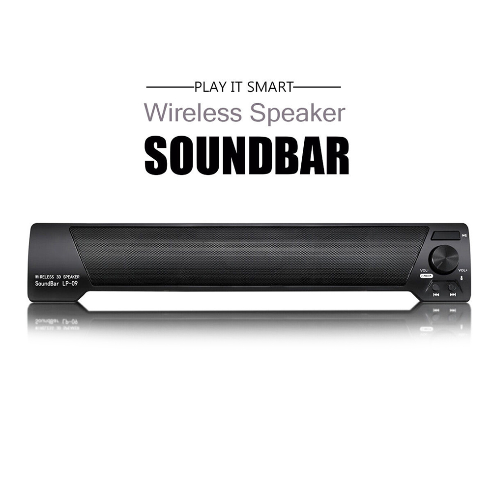 3D LP-09 10W Portable Strip Shaped Stereo Bluetooth Wireless Speaker TV Home Theater Heavy Bass Sound Bar With Mic Phone Call