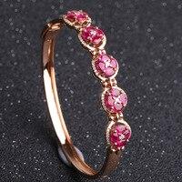Robira Fashion High Quality 18K Rose Gold bangles Natural Ruby Precious Stone Love bangles For Women Bracelets Fine Jewelry