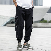 Japanese Style Fashion Mens Jeans Casual Pants Men Punk Hip Hop Trousers Big Pocket Cargo Pants,Green Black Color