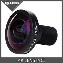 4K LENS 1.29MM Lens 185 Degree Fisheye 1/2.5″ for Hero 4 Black Xiaomi Yi Sports Camera M12 Mount 10MP Hot Free Shipping
