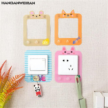 1PCS Cute animal luminous switch sticker Cartoon wall with hook Glow in the Dark Livingroom Kids Room Switch Protective