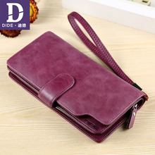 DIDE 2019 Luxury Brand 100% Top Genuine Cowhide Leather Womens Wallets Girls Clutch Purse Card Holder Wallet Phone bag Female