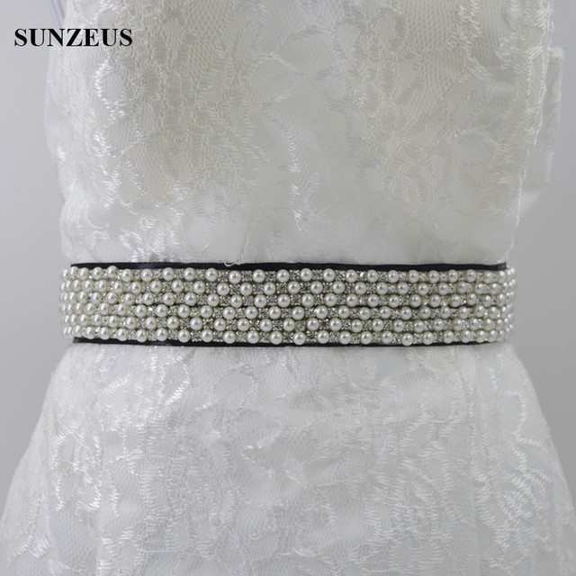 Black Satin Wedding Accessories for Bride Pearls Beaded Long Bridal Belts Elegant Wedding Dress Sash cinturon de novia S592