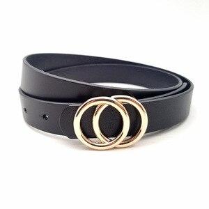 Image 2 - Luxus Frauen Echte Echtem Leder Gürtel Gold Doppel Ring Runde Schnalle Gürtel Für Jeans Hohe Qualität Designer Strap Schwarz Rot pasek