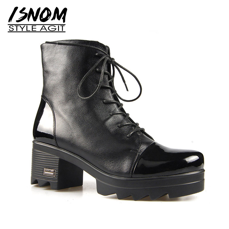 Us 6148 45 Offisnom High Heels Women Ankle Boots Round Toe Lace Up Footwear Warm Wood Liner Female Boot Platform Shoes Woman 2018 Winter New In