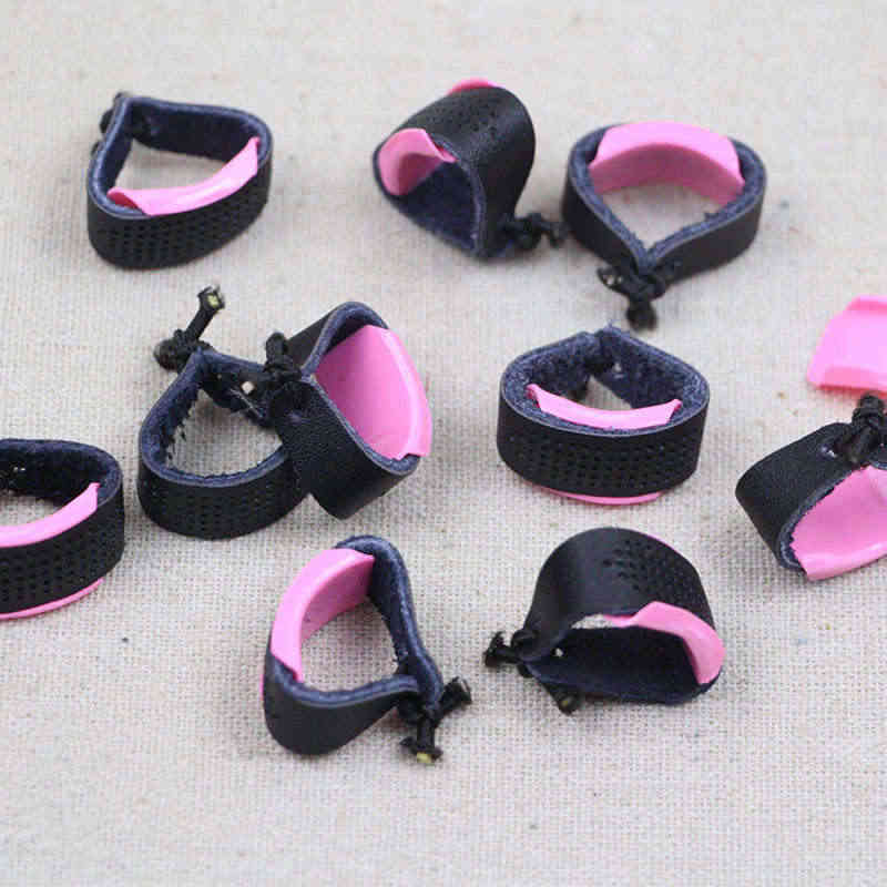 10 PCs Pink Black Adjustable Leather Thimble Patchwork Finger Protector Needlework Accessory Sewing Helper Accessories 27*12mm