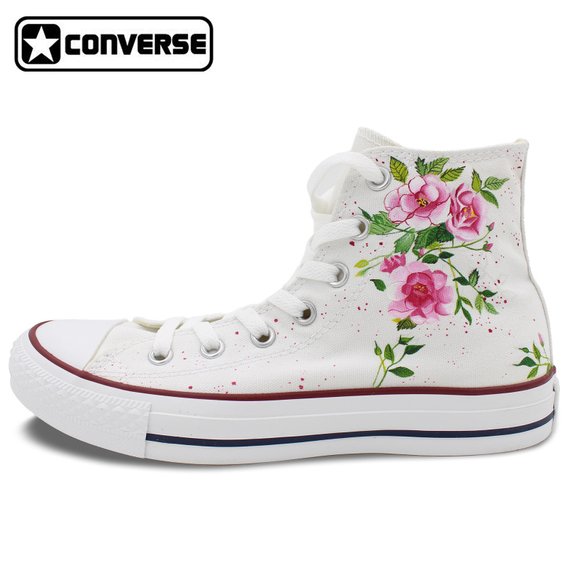 653248ecc52b Canvas Shoes Women Men Converse All Star Flower Floral Original Design Hand  Painted Shoes High Top Man Woman Sneakers Gifts-in Skateboarding Shoes from  ...