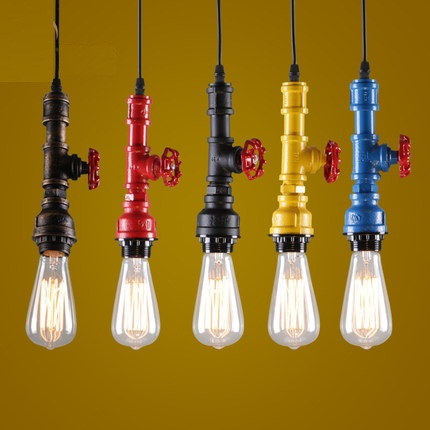 American Loft Style Water Pipe Pendant Light Industrial Vintage Lighting For Living Dining Room Bar Retro Hanging Lamp rust color water pipe steampunk vintage pendant lights for dining room bar home decoration american industrial loft pendant lamp