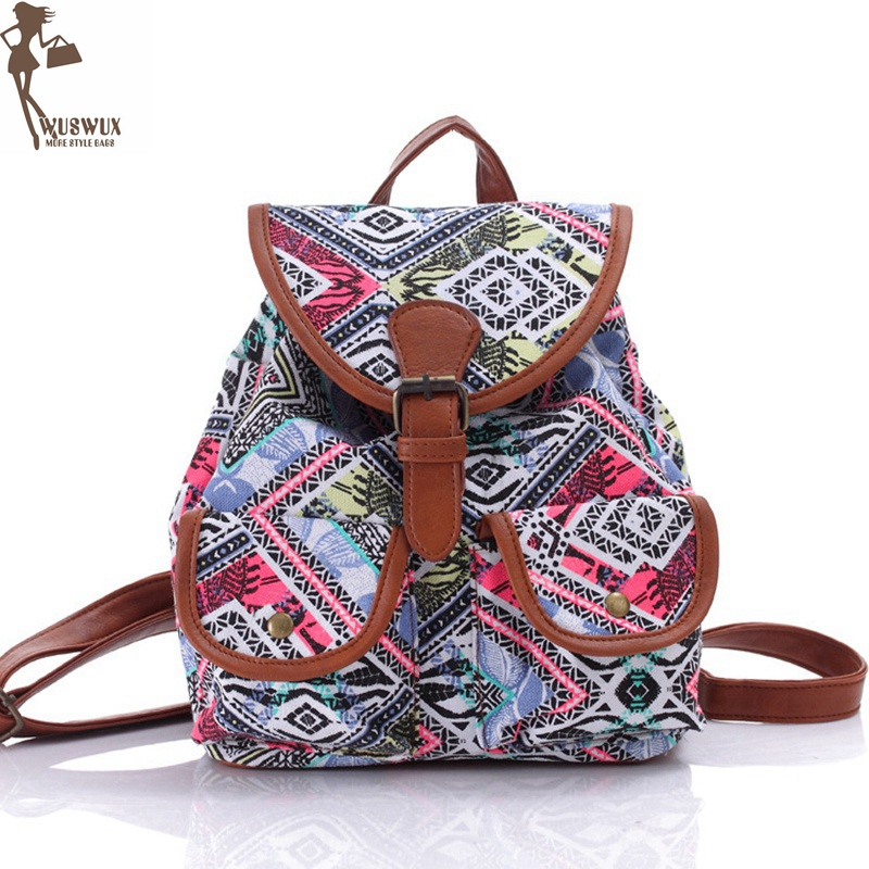 Women Backpack New Fashion Canvas Printing Backpacks National Style For Girls Casual Travel Small Backpack Good Quality