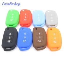 Cocolockey Silicone Car Key Case for HYUNDAI HB20 Ix45 IX35 Santa Fe Flip Remote Cover 3 Button Fob Styling