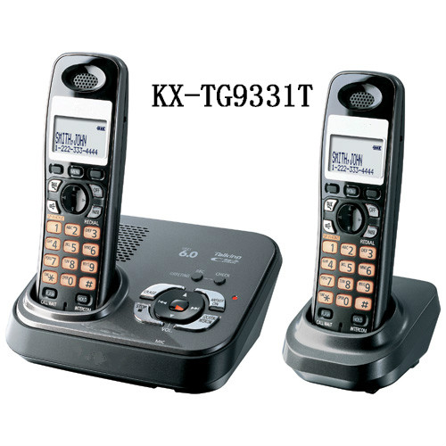 imágenes para 2 Teléfonos DECT 6.0 Teléfono Inalámbrico con Contestador automático Digital Expandible KX-TG9331T, negro