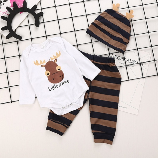 Infant Baby Girls Cartoon Reindeer Long Sleeve Rompers + Striped Trousers + Hat Kids Cotton Clothing Sets Boys 3Pcs Suits