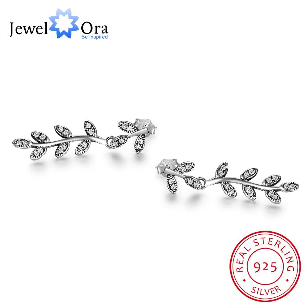 Solid 925 Sterling Silver Stud Earrings Women Leaves Shape Foliage Pattern Jewelry Earrings Gift to Friends(Jewelora EA102001)