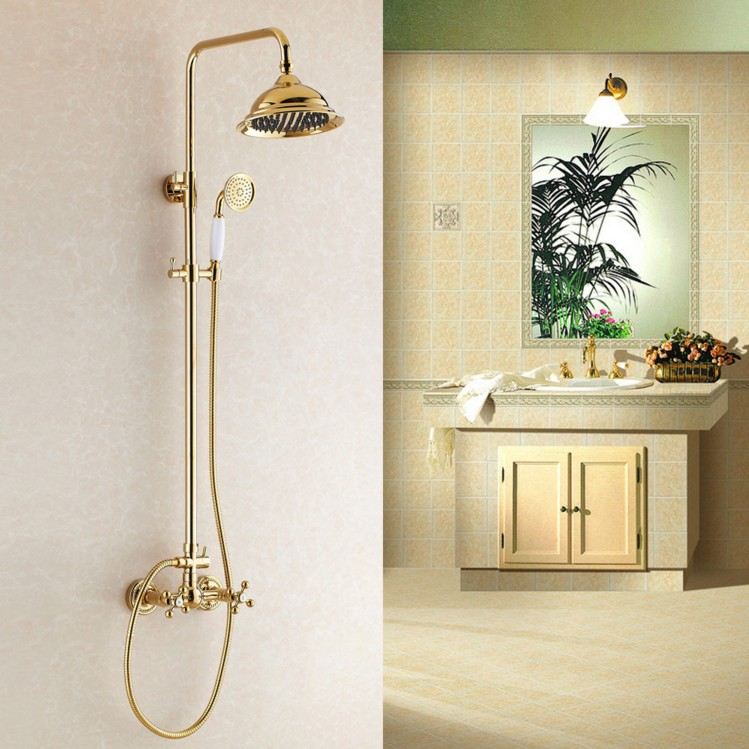 Luxury Rainfall Golden Shower Bath Set Faucets With Ceramic Dual Handles Wall Mounted Rainfall Shower Mixer Taps