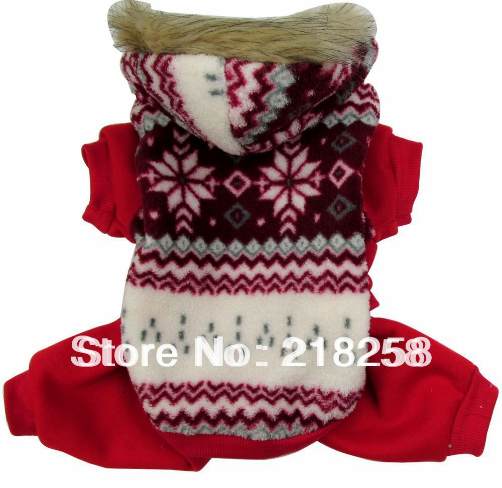 Snowflake Pattern Hoodies Fleece Small Dog Cat Jumpsuit Warm Winter Coat Pet Puppy Snowsuit Outfits Clothing For Puppy Drop Ship