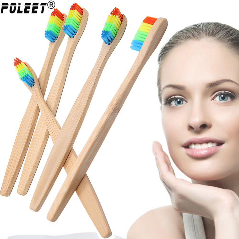 Free Shipping 1 PC Colorful Head Bamboo Toothbrush Environmentally Wood Toothbrush Novelty Bamboo Tooth Brush Nylon