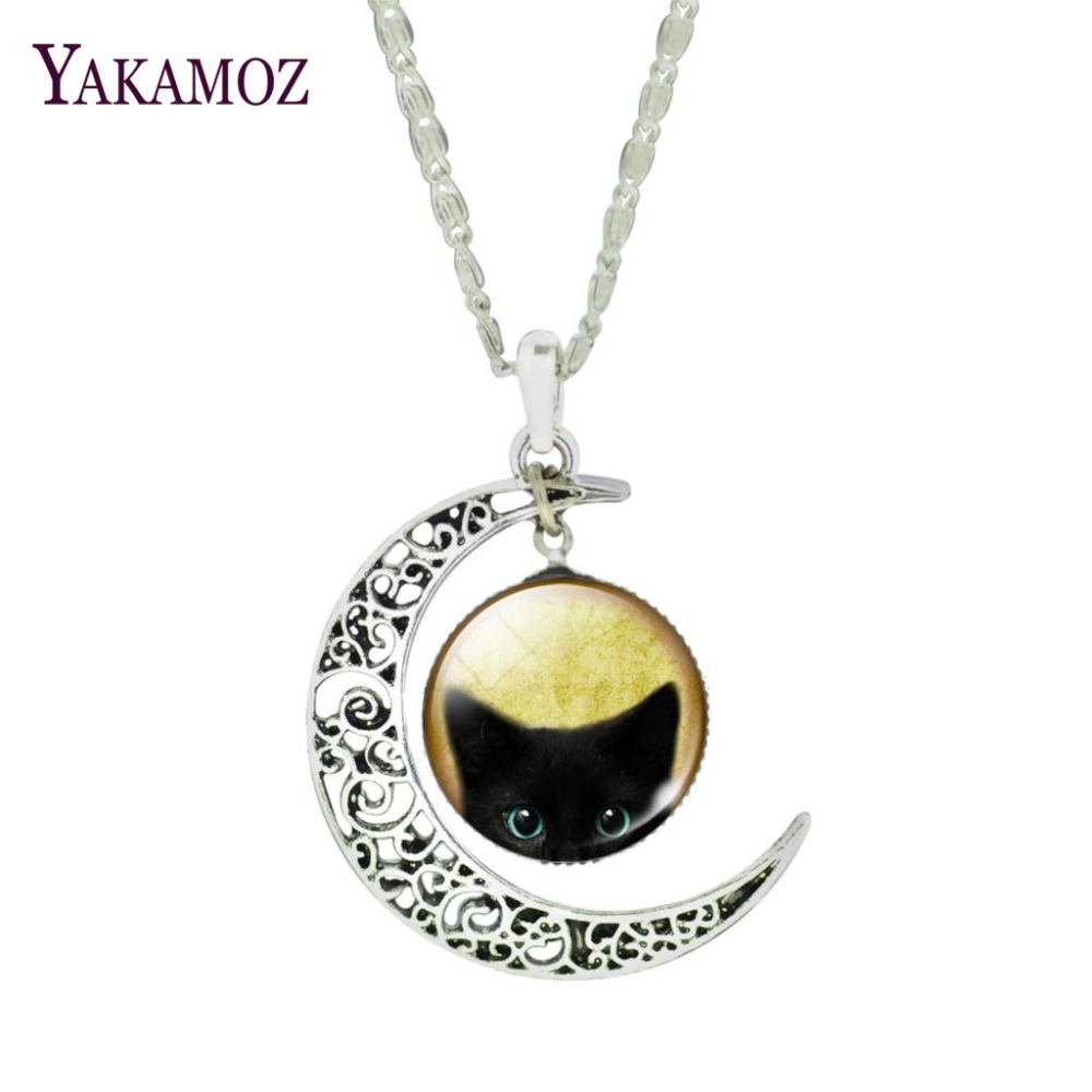 Lovely Black Cat Glass Cabochon Fine Jewelry Fashion Silver Plated Color Pendant Necklaces Choker Necklaces For Women 2017