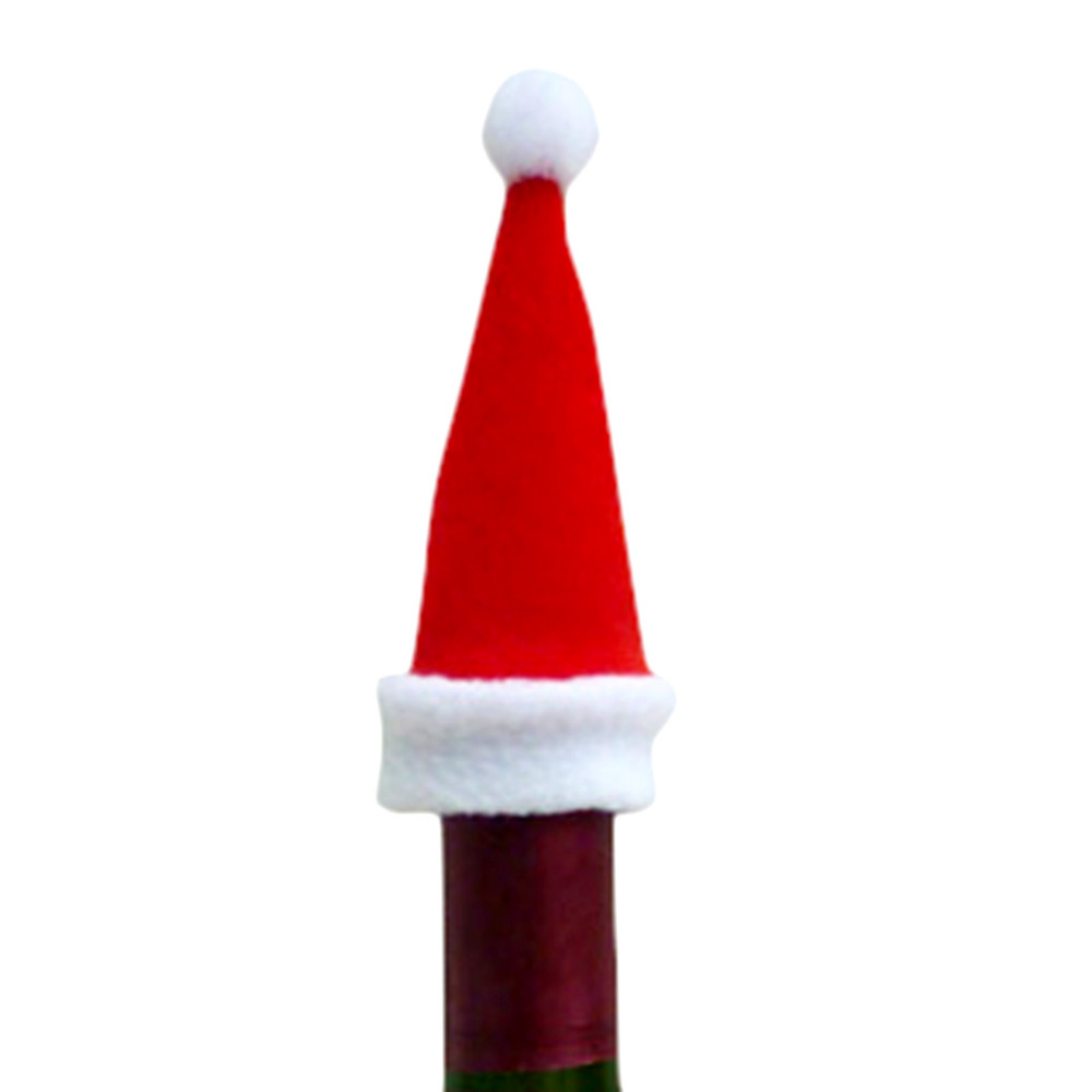 Wine bottle ornaments - 2016 New Year Christmas Santa Hat Cup Hat Wine Bottle Covers Decoration10 5 5 Cm Mini