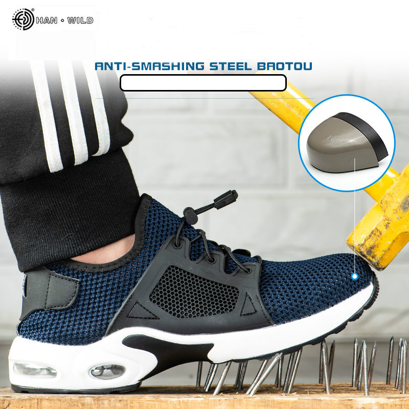 Men Safety Work Shoes Mens Outdoor Steel Toe Footwear Boots Indestructible Air Breathable Puncture-Proof Work Sneakers