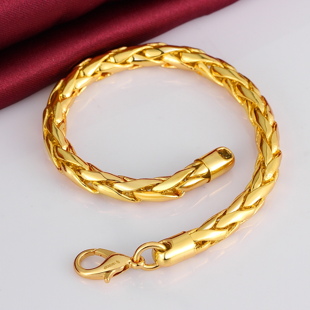 2015 new Men\'s Jewelry Thick Twist chains 6mm 18K Golden 8\'\' 20cm ...