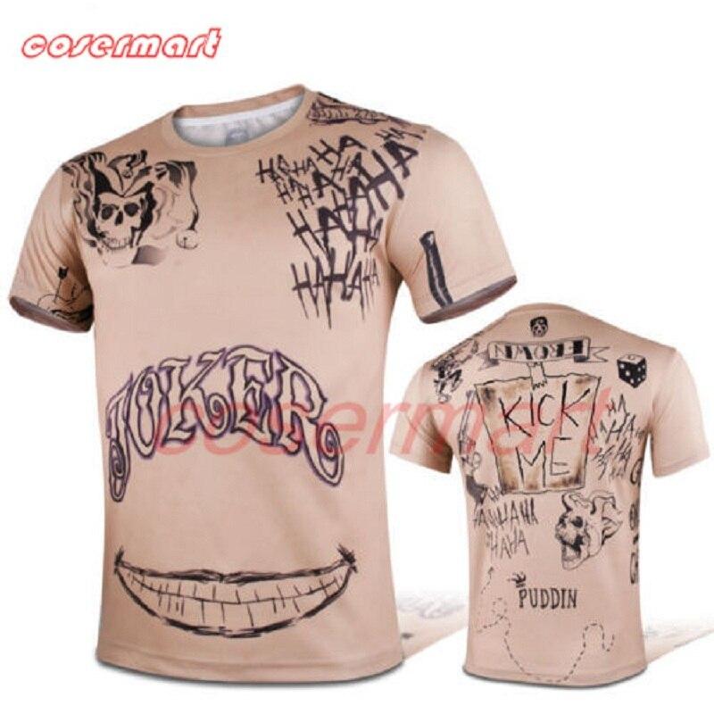 2016 Suicide Squad T-Shirt Joker Tattoos Costume Sublimation Short Sleeve T-Shirt  Personalized Cosplay Joker T-shirt  Halloween