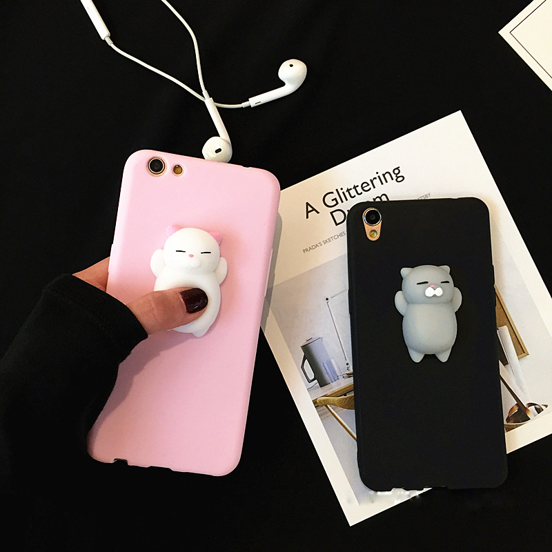 3D Squishy Phone Case For OPPO R7S Case Soft Silicone Cute Cartoon Cat Bear Cover For OPPO R7S Capa Coque