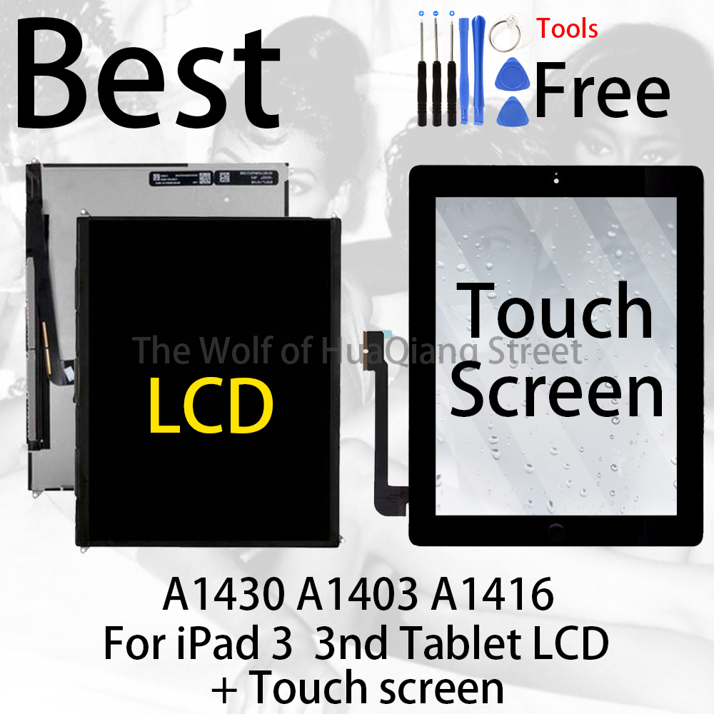 Best Original For IPad 3 IPad3 3nd Table LCD A1430 A1403 A1416 Panel Monitor Module Replacement + Touch Screen Sensor Display