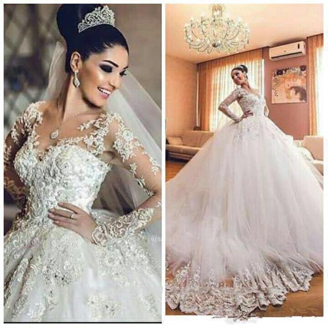 Vintage Wedding Dress 2016 Sheer Neck Appliques Long Sleeves Wedding ...
