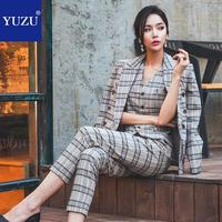 3 Piece Sets Womens Outfits Vintage Gray Plaid Blazer Jacket+sleeveless Waistcoat+ankle length Pants Double Breasted Office Sets
