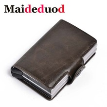Maideduod 2019 Men And Women Business Credit Card Holder Metal RFID Double Aluminium Box Crazy Horse Leather Travel Wallet