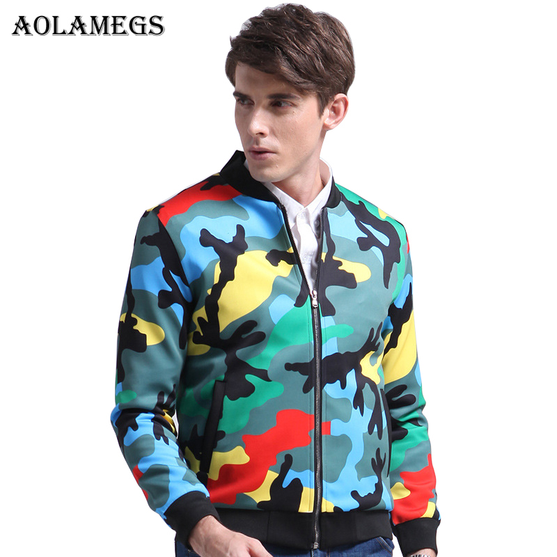 Aolamegs Mens Jacket Color Camouflage Military Bomber Jacket Men Hip Hop Fashion Casual Outwear Men Coat Bomb Baseball Jackets ...
