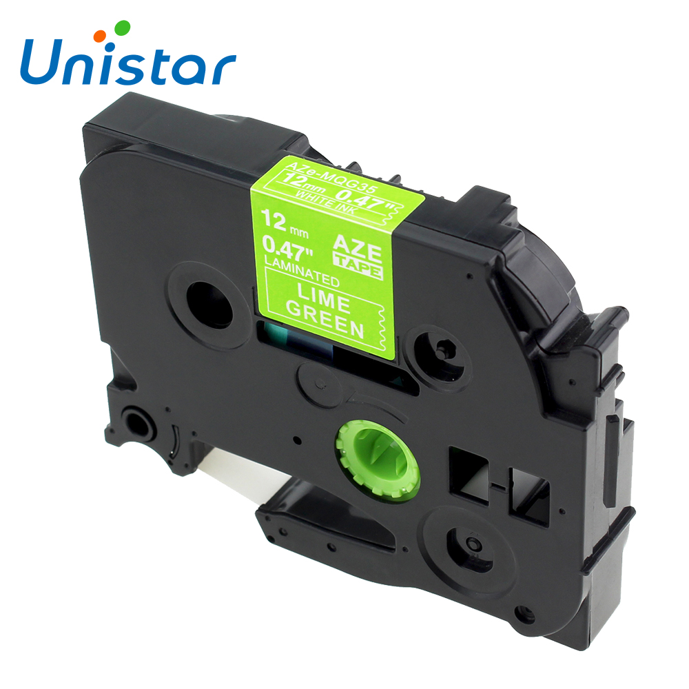Unistar TZe-MQG35 compatible <font><b>Brother</b></font> P-touch Tape 12mm White on Lime Green TZ-MQP35 for <font><b>brother</b></font> <font><b>PT</b></font>-<font><b>D210</b></font> <font><b>PT</b></font>-P750 <font><b>PT</b></font>-1890 <font><b>PT</b></font>-h110 image