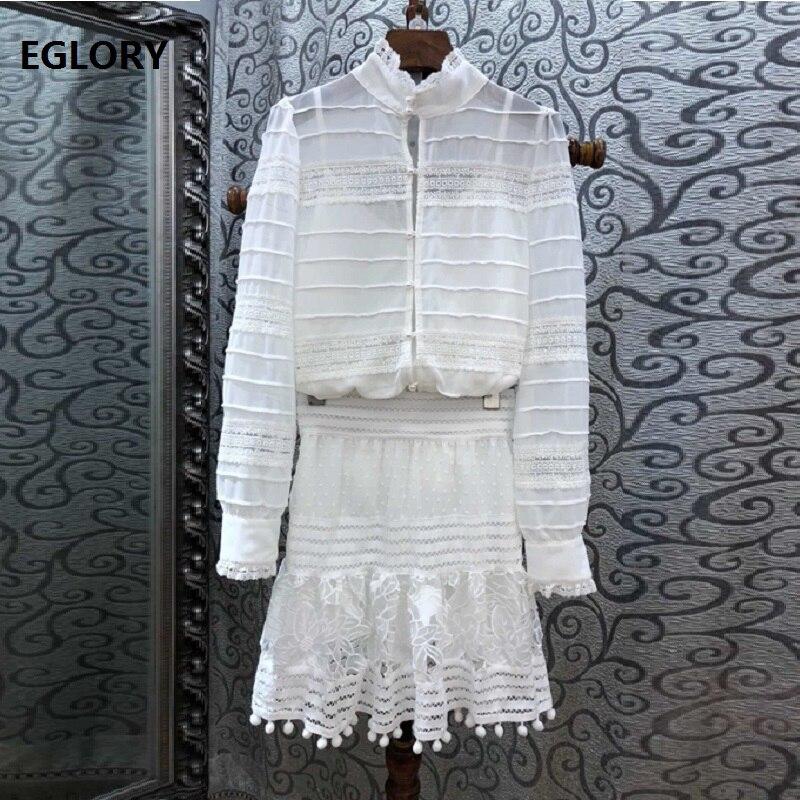 ad025ceeb Conjuntos de ropa de diseñador de Grado Superior 2019 falda de primavera  traje de mujer de encaje ...