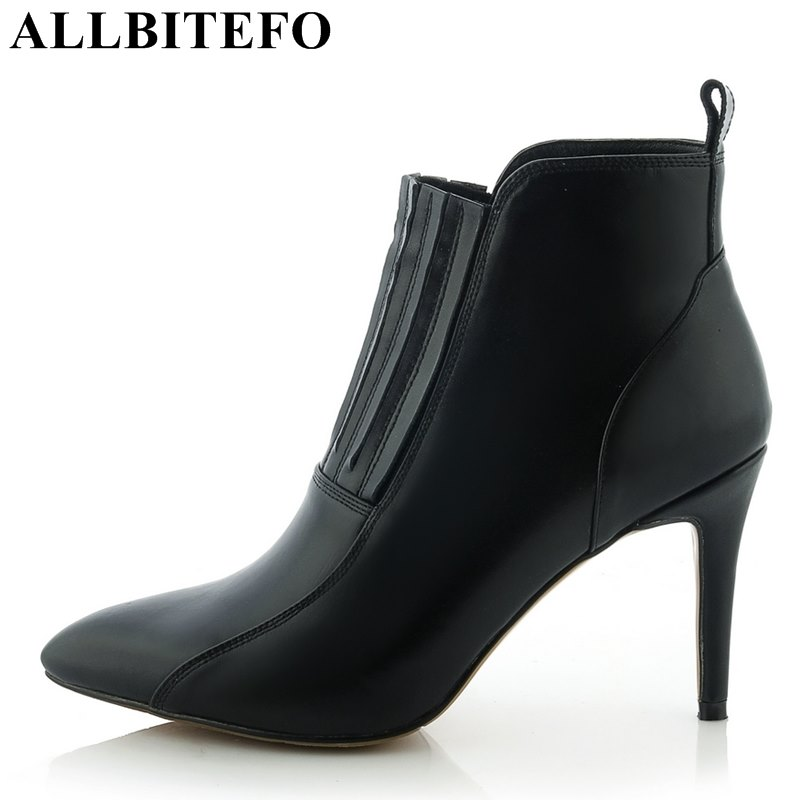 ALLBITEFO sexy high heels genuine leather pointed toe Elastic band women boots brand thin heel party shoes martin boots woman women boots sexy high heels shoes woman genuine leather ladies party pumps elegant elastic band rivets ankle boots pointed toe