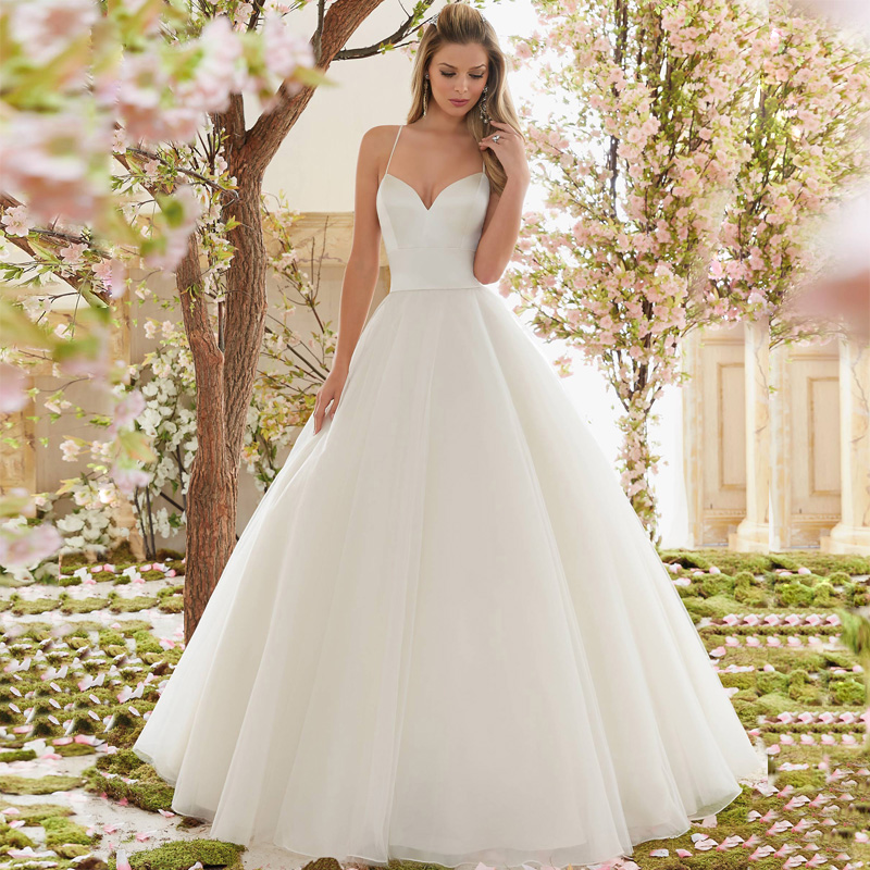 Wedding Dressing Gowns Personalised: Vestido De Noiva Backless A Line Organza Wedding