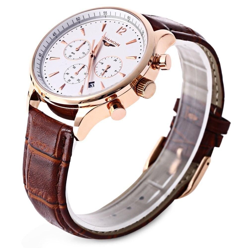 GUANQIN GQ001 Water Resistance Men Japan Luxury Quartz Watch Leather Watchband Working Sub dials