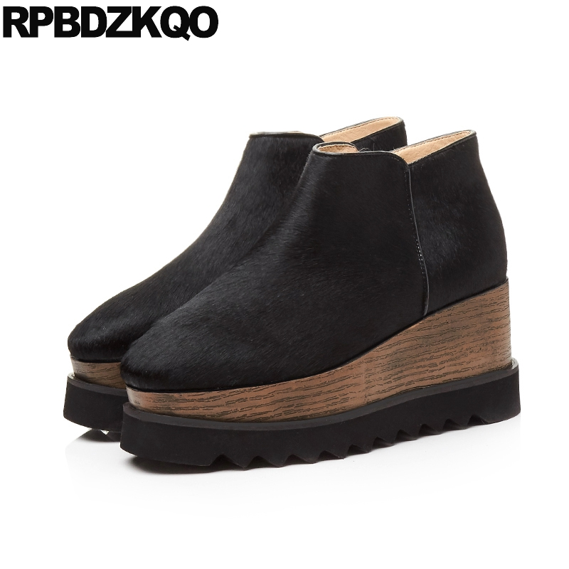 Booties Elevator 10 Luxury Brand Shoes Women Harajuku Boots Furry Flat Horsehair Ankle Platform Wedge Autumn Muffin Fall Black yanicuding round toe women flock ankle booties metal short boots zip design luxury brand fashion runway star autumn shoes flats